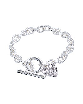 Crystal Heart T Bar Bracelet
