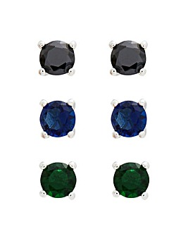 Rhodium Plated Mixed Colour Cubic Zirconia Studs - Pack of 3
