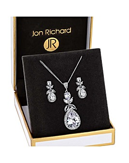 Rhodium Plated Cubic Zirconia Floral Set - Gift Boxed