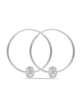 Sterling Silver 25mm Hoops with Moving Crystal Ball