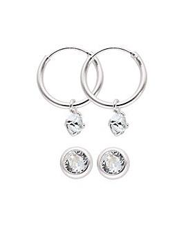 Sterling Silver Crystal Stud and Hoop Earring Set