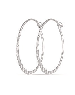 Sterling Silver 25mm Hammered Design Hoops
