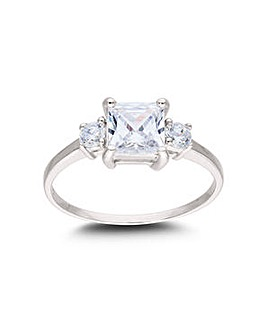 Rhodium Plated Sterling Silver and 3 stone Cubic Zirconia Ring