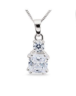 Rhodium Plated Sterling Silver and Cubic Zirconia Pendant with Chain