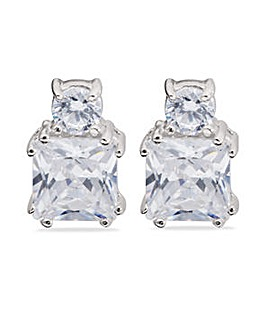 Rhodium Plated Sterling Silver and Cubic Zirconia Studs