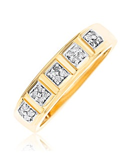 9 Carat Gold And 0.15ct Diamond Mens Commitment Band Ring