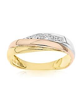 9 Carat 3 Colour Gold Diamond Set Commitment Band