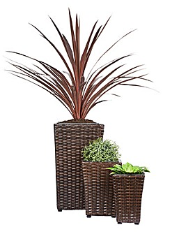 Set of 3 Brown Rattan Planters