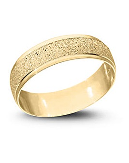 9 Carat Gold Sparkle D Shape 6mm Wedding Band