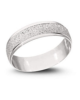 9CT White Gold Sparkle 6mm Wed Band