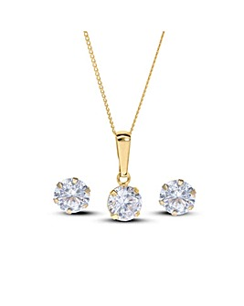 9 Carat Gold Solitaire Cubic Zirconia Pendant and Earring Set