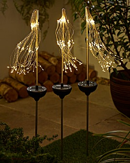 Set of 3 Solar Starburst Stake Lights