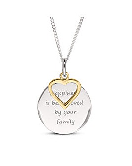 Sterling Silver Family Message Disc And Gold Plated Heart Charm Pendant