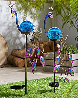 Set of 2 Solar Peacocks