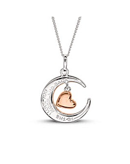Sterling Silver Moon Love Message Pendant with Rose Gold Plated Heart