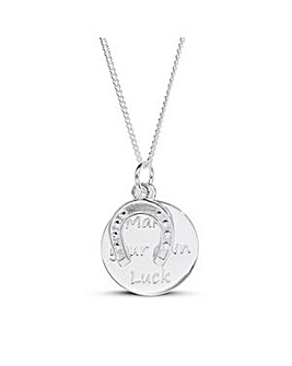 Sterling Silver Two Piece Luck Message Disc And Horseshoe Charm Pendant