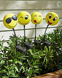 Set of 4 Solar Happy Faces