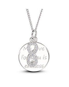 Sterling Silver Love Message Disc And Cubic Zirconia Infinity Charm Pendant