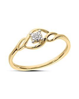 9 Carat Yellow Gold Dainty Diamond Accent Dress Ring