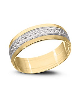 9 Carat Gold 6mm Two Tone Diamond Cut Wedding Band