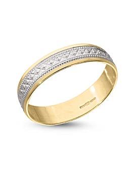 9 Carat Gold 4mm Two Tone Diamond Cut Wedding Band