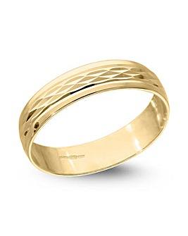 9 Carat Gold Modern Design Diamond Cut D Shape 4mm Wedding Band