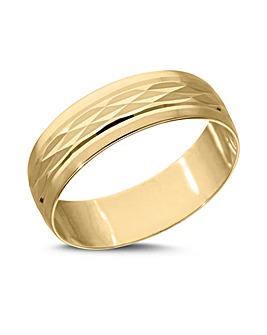 9 Carat Gold Modern Design Diamond Cut D Shape 6mm Wedding Band