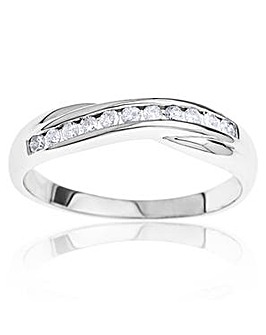 9 Carat White Gold 1/4 Carat Diamond Crossover Half Eternity Ring