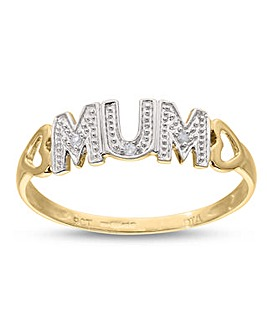 9 Carat Yellow Gold Diamond Set Mum Ring With Heart Shoulders