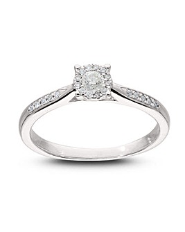 9 Carat White Gold Diamond Solitaire Look Ring with Diamond Set Shoulders