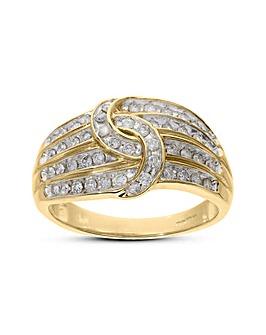 9 Carat Yellow Gold 1/2 Carat Diamond Four Row Knot Ring