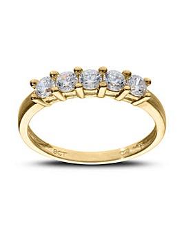 9ct Yellow Gold 5 Stone CZ Dress Ring