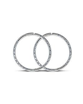 Sterling Silver 13mm Diamond Cut Hoops