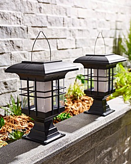 2 Pack Solar Lantern with Moving Flame