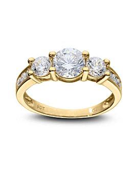 9ct Gold Three Stone CZ Dress Ring