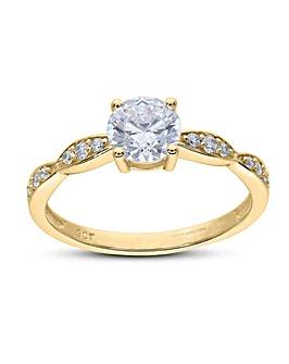 9ct Yellow Gold CZ Dress Ring