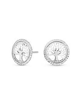 Tree Of Life Diamond Cut Stud Earrings