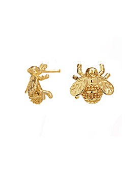 12Ct Yellow Plated Gold Bee Stud Earring