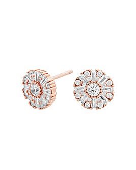 14ct Rose Gold Baguette Halo Earrings
