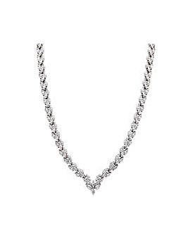 Rhodium Plate Bridal V Necklace