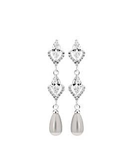 Silver Plated Pearl Long Drop Earrings