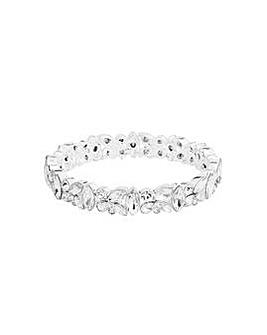 Silver Plated Cluster Stretch Bracelet