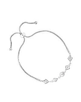 Silver Plated Pearl Toggle Bracelet