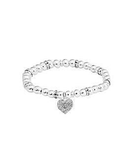 Silver Plated Heart Stretch Bracelet