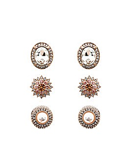 Rose Gold Plated Stud Earrings-Pack of 3