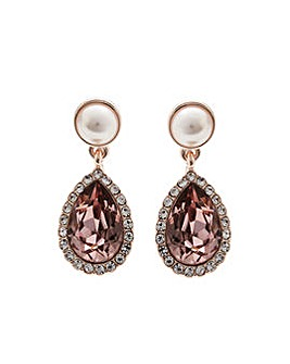 Rose Gold Plated Pink And Pearl Earrings