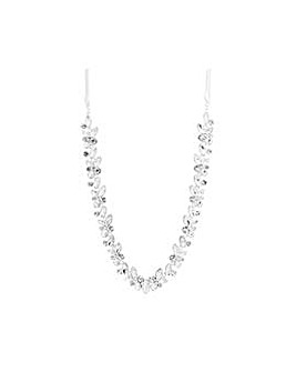 Silver Plated Crystal Cluster Necklace