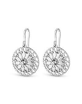 Silver Plated Filagree Drop Earrings