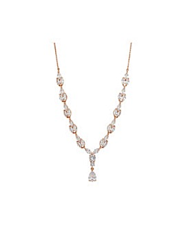 Rose Gold Plated Marquise Y Necklace