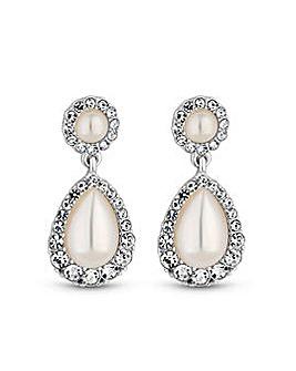 Silver Plated Pearl Pear Drop Earrings